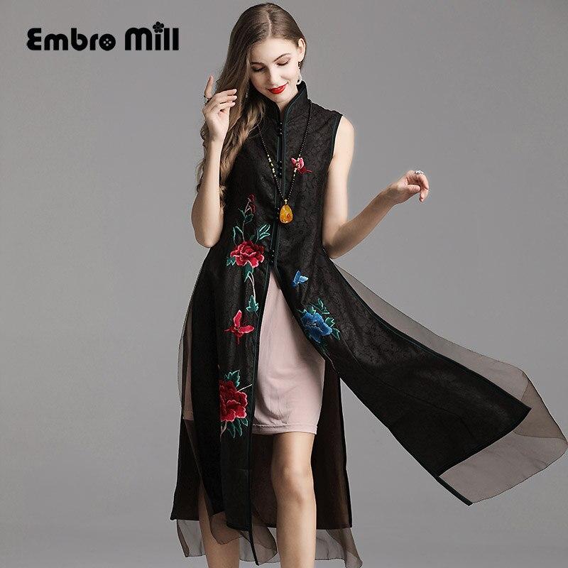 summer women folk custom embroidery floral Silk yarn dress robe Chinese Retro dress Cheongsam Woman Two piece set skirt S XXL