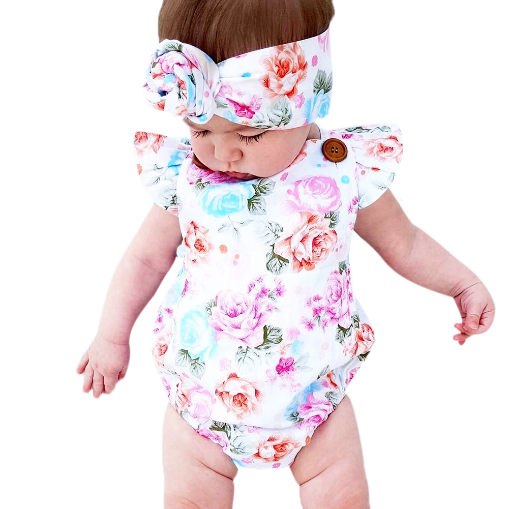 2018 New Fashion Sunsuit+Headband Cotton Outfits Set Clothes Girl Floral Baby Romper Set Infant Baby Girls Summer Flower Romper 2017 summer toddler kids girls striped baby romper off shoulder flare sleeve cotton clothes jumpsuit outfits sunsuit 0 4t