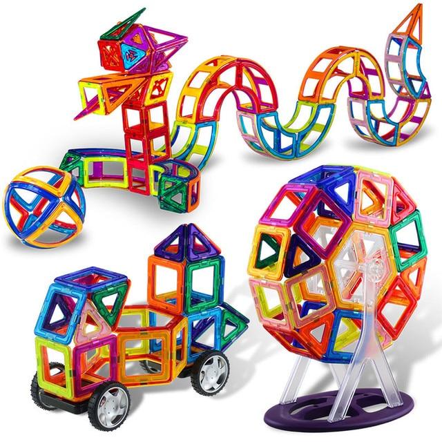 150pcs Big Size Magnetic Construction Set Magnetic Designer for Children plastic Magnetic Blocks Educational Toys For Kids