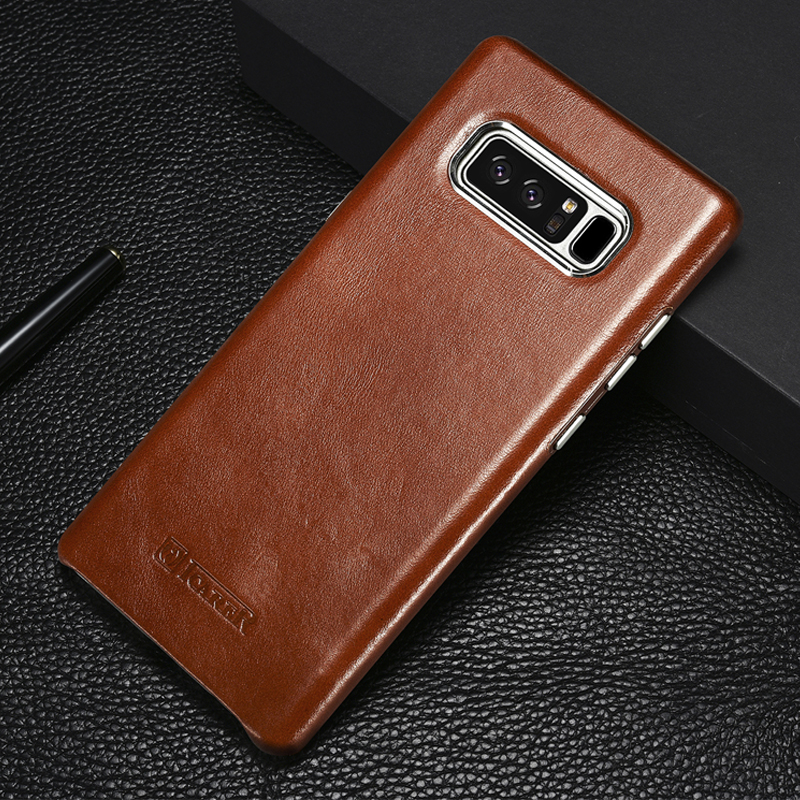 Luxury Ultra Thin Genuine Leather Case For Samsung Galaxy Note 8 Vintage Hard 360 Full Protection Phone Back Cover Phone Cases