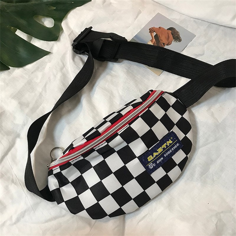 Hot sale Waist Bag Women men Unisex leg bag Lattice Checkerboard fanny pack Female Shoulder belt bag Cellphone bag Big Promotion