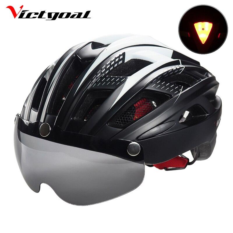 VICTGOAL Cycling Helmet LED Backlight Bicycle Helmet Men Women Goggles Bike Helmets Ultralight MTB Lens Helmets Safety Light
