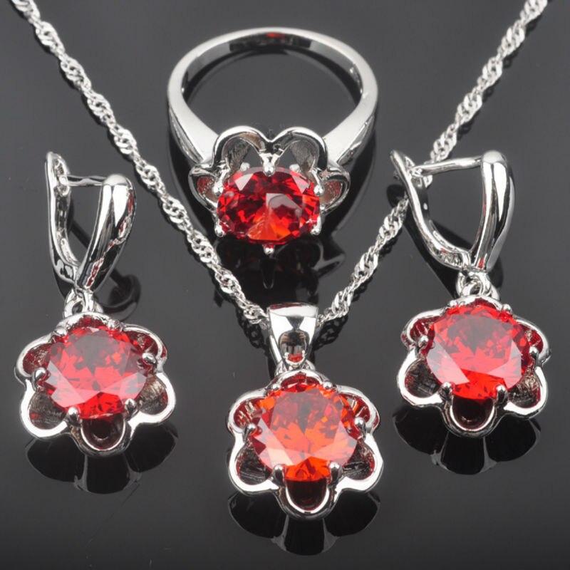 LiebenswüRdig Fahoyo Red Erstellt Granat Zirkon Frauen 925 Silber Schmuck Sets Ohrringe/anhänger/halskette/ringe Freies Verschiffen Qz0132 Hochzeits- & Verlobungs-schmuck