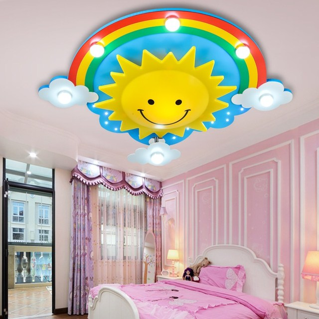 Rainbow Sun Clouds Led Kids Room Ceiling Light Cartoon Bedroom Creative Cute Men