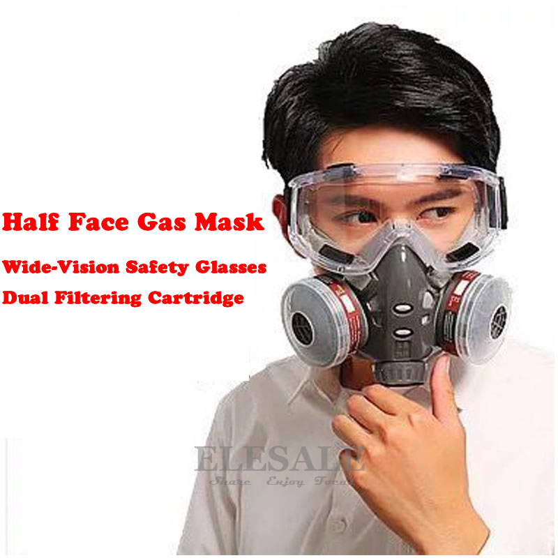 New Gas Mask With Safety Glasses Dual Carbon Filter Cartridge Chemical Respirator For Spraying Painting Factory Industry Use new safurance protection filter dual gas mask chemical gas anti dust paint respirator face mask with goggles workplace safety