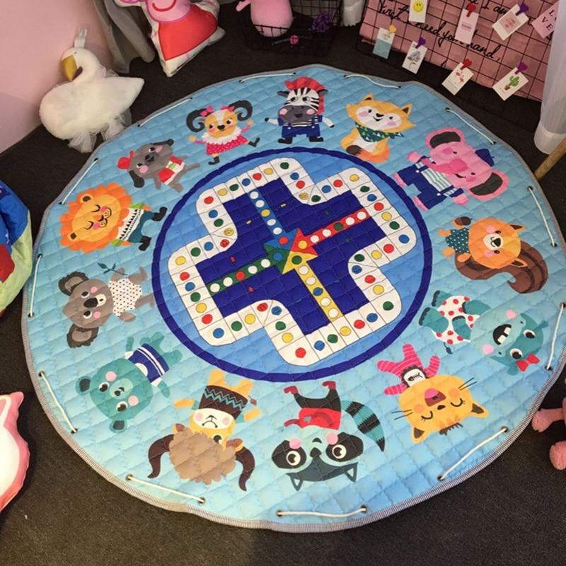 Fashion 1.5m/59 Inch Kids round rug Baby Play Mat Toys Organizer Drawstring Storage bag Cartoon Animal Children Floor Game Mat