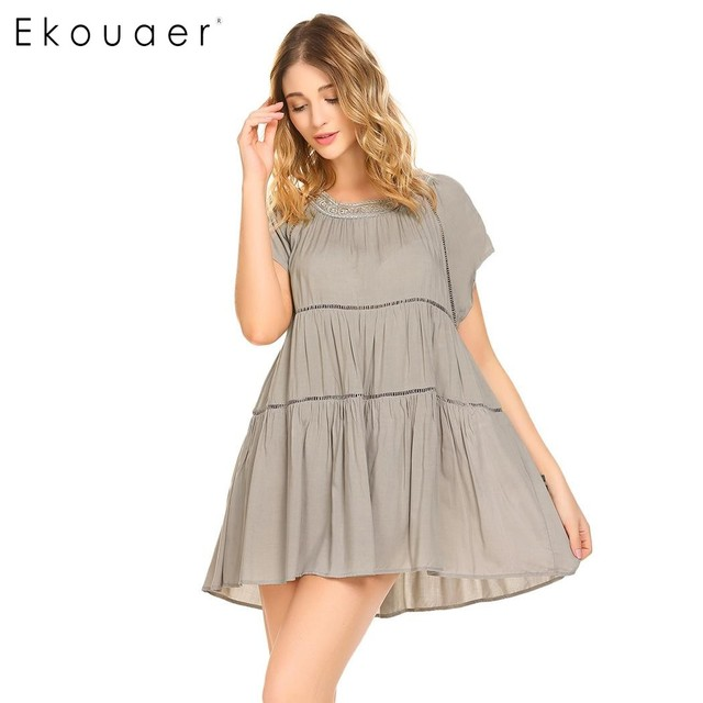 ed389c37f0 Ekouaer Nightgown Women Sleepwear Vintage Casual O-Neck Short Sleeve Lace  Patchwork Hollow Out Flare Summer Night Sleep Dress