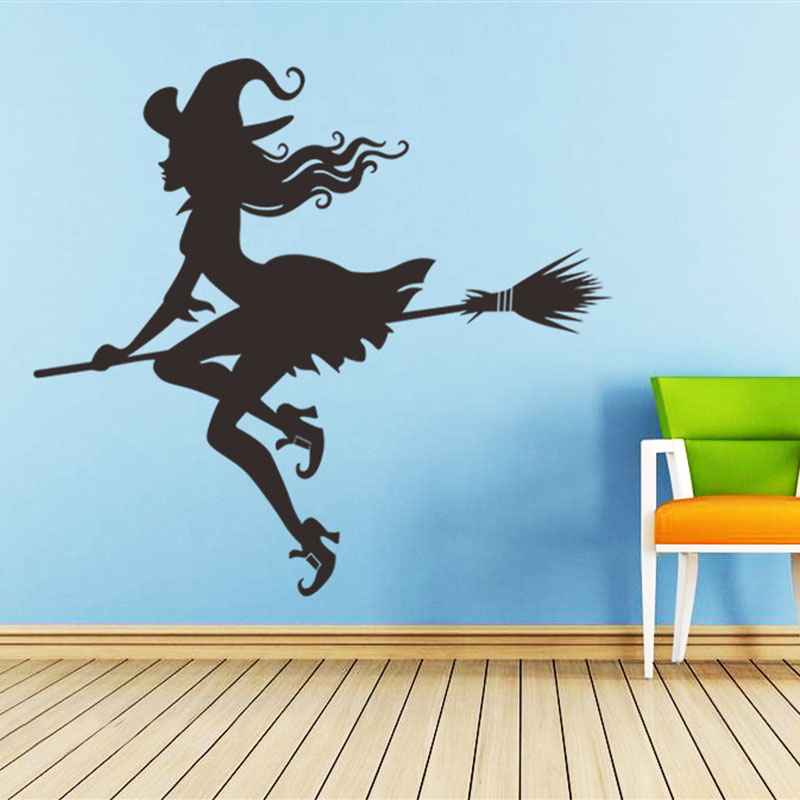 witch broom wall stickers halloween bat wallpaper for kids room home
