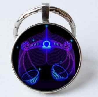 Luminoso Segno Zodiacale Keychain 12 Costellazione del Leone Bilancia Scorpione Sagittario Ciondolo Doppio Viso Portachiavi Chiave Titolare Di Compleanno