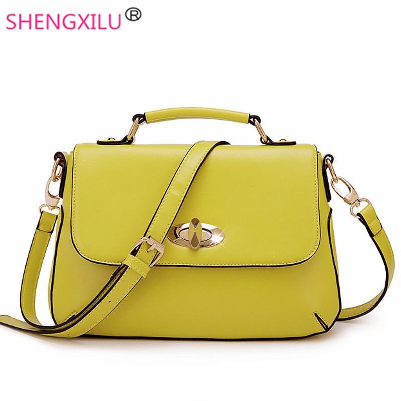 ФОТО Shengxilu vintage leather women handbags high quality fashion girls shoulder crossbody bag brand messenger bag yellow women bags