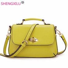 Shengxilu старинные кожаные женские сумки способа высокого качества девушки плечо crossbody сумка бренд сумка желтый женщин сумки
