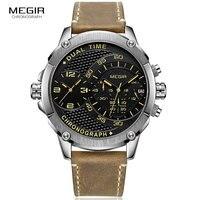 Männer der Doppel Zeit Zone Quarz Handgelenk Uhren 24 Stunden Chronograph Armee Sport Stoppuhr Uhr Braun Relogios Masculino 2093GBN