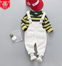 Baby Boys Spring Suit 2019 New Arrival Striped T-shirt +Strap Pants Fashion Cartoon Childrens Clothing Set SY-F191207