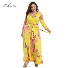 Echoine Plus Size Summer Dress Women Floral Print Sexy V-Neck Sashes Lace Up Party Long Elegant Woman Vacation Clothes Mixi Robe