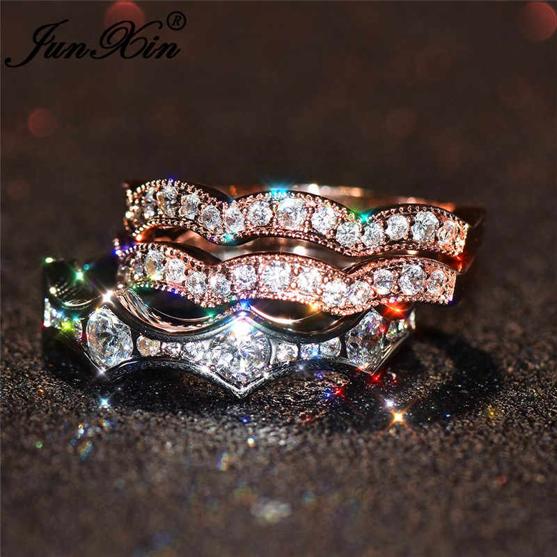JUNXIN 3 pcs ชุดแหวนคริสตัล 925 เงิน Rose Gold สีขนาดเล็กสีขาว Zircon หมั้นแหวนซ้อน midi แหวน
