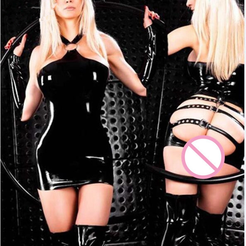 Sexy Wetlook Lingerie Latex PVC Party Dress Faux Leather Shiny Dress Hot Erotic Club Catsuit Women Fetish Wear Costumes Clubwear