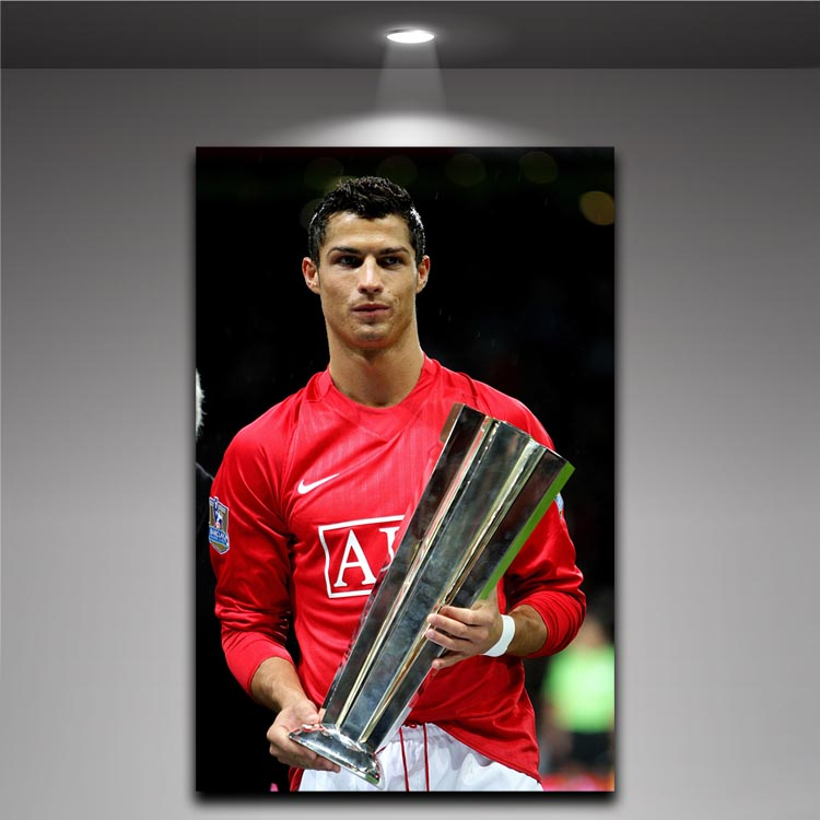 Cristiano Ronaldo With Trophy Wall Poster Picture Printed On Canvas Soccer Portugal Football Star Boys Room Decor Painting In Calligraphy