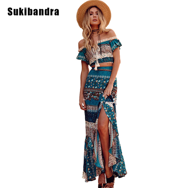Sukibandra 2 Two Piece Set Summer Bohemian Maxi Dress Long Boho Vintage Women  Sexy Off Shoulder Crop Top Beach Blue Ruffle Dress 4f50293195bd