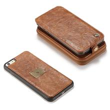 2017 New For IPhone 6p 6s Plus Case Genuine Coarse Crack Leather Vertical Flip Wallet Cover Multifunctional Phone Bags