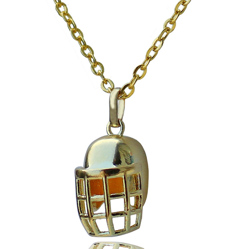 Rugby Helmet Pendant Choker Necklace for Women American Football Lovers Gold-color Sports Jewelry 10pcs Wholesale