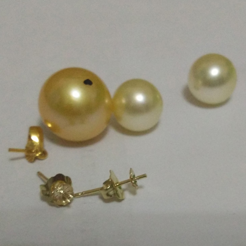 Natural Genuine Round Golden South Sea Pearl Jewelry SetNatural Genuine Round Golden South Sea Pearl Jewelry Set
