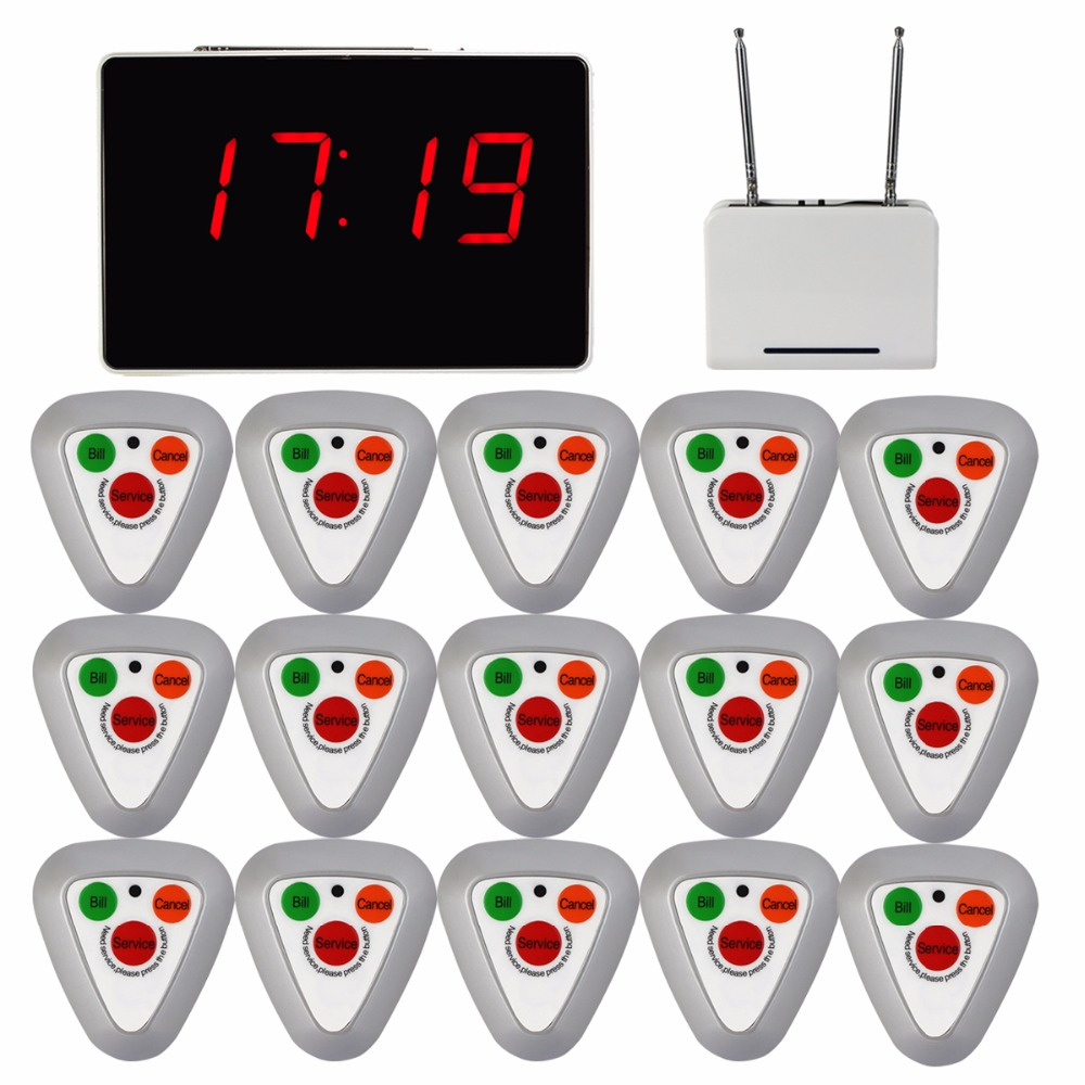 Waiter Call Pager Voice Reporting Broadcast Restaurant Calling System 1 Receiver Host + 1 Signal Repeater 15 Call Button F3297D wireless waiter buzzer calling system best discount price of wireless calling full set 1 display 1 wrist pager 10 call button