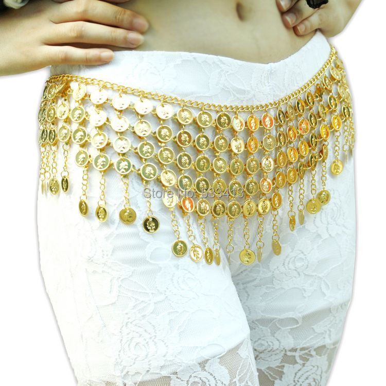 Belly Dance Accessories Gold Coins Belly Dance Belt For Women Belly Dance Hip Scarf