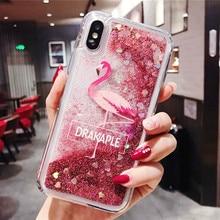 Quicksand Case For iPhone X 7 8 Flamingo Phone Cases 6 6s Plus Sequin Transparent Glitter Cover Skin