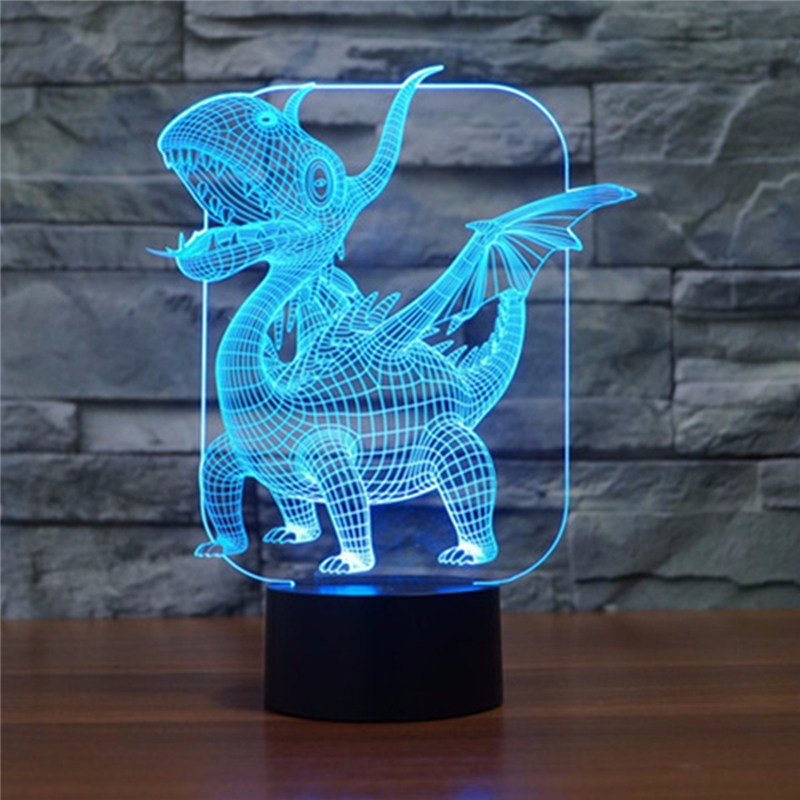 Colorful Unique Dragon 3D Touch LED Dinosaur Night Light Sleeping Holiday Lighting Friend Boys Christmas Gifts Bar Home Decor