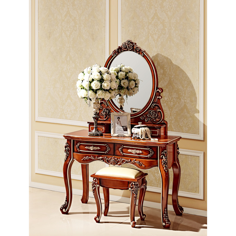 US $535.0 |Cherry Red Solid Bedroom Furniture Dressing Table with Mirror  and Chair-in Bedroom Sets from Furniture on AliExpress