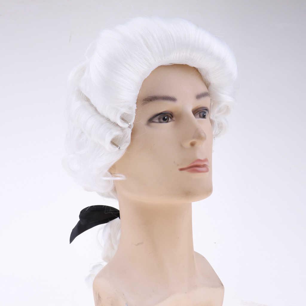 Beyaz Barok Peruk erkek Sömürge Peruk Cadılar Bayramı Cosplay DIY Yapma Aksesuar Cadılar Bayramı Partisi Fantezi Elbise Cosplay