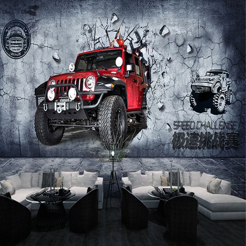 Custom 3d mural wallpaper vintage motorcycle car fast and for Car wallpaper mural