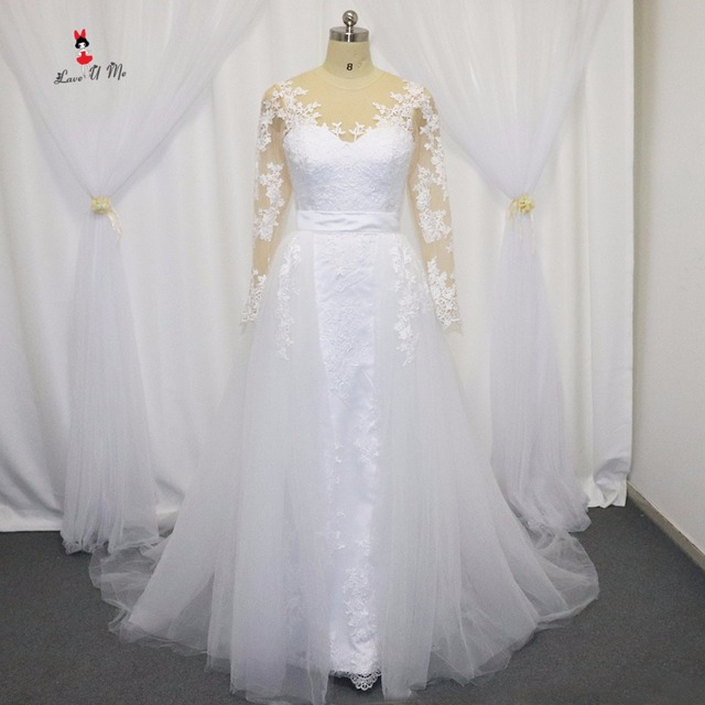Echt Elegante Abnehmbare Rock Hochzeitskleid Langarm Meerjungfrau ...