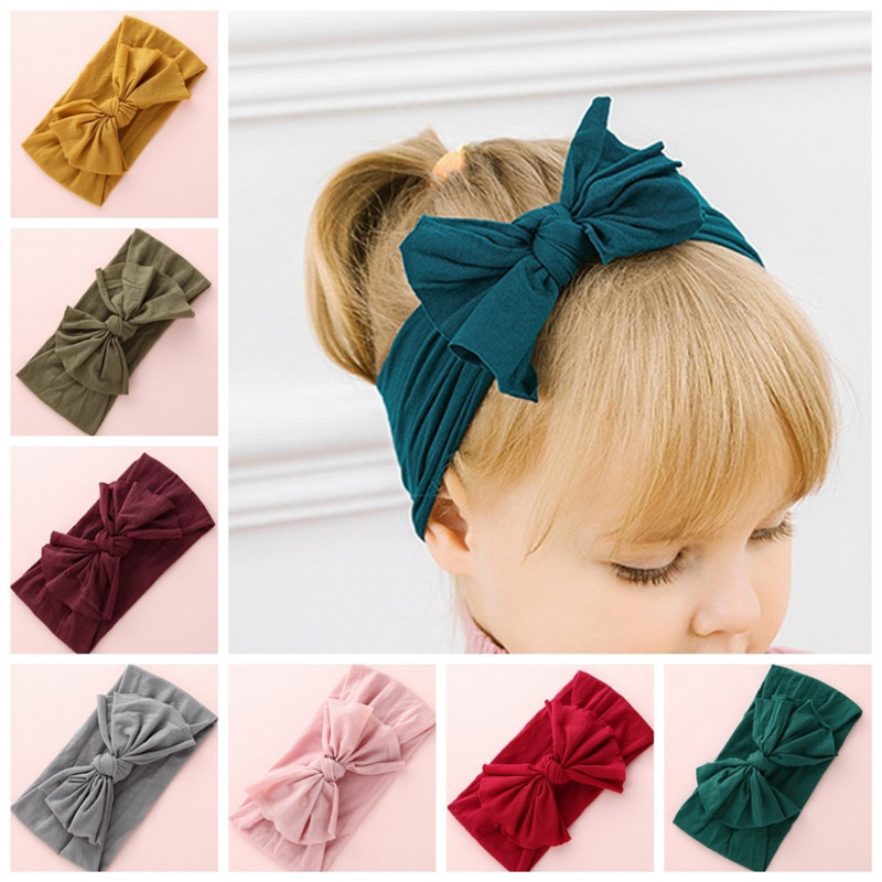 New Solid Nylon Headband Bow Headbands For Cute Kids Girls Hair Girls Turban Hairband Children Soft Cotton Headband