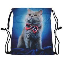Полная печать мужская женская детская сумка Подростковая сумка на шнурке школьный рюкзак Через Плечо Рюкзак Сумка для путешествий тренажерный зал(кошка