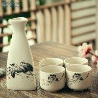 Chinese style ink ceramic liquor wine set cup glass yellow wine white wine sake pot dispenser fine rice wine drinkware wood tray