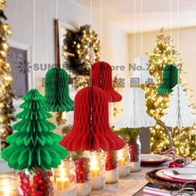8pcs/set Mix and Match Christmas Decorations Paper Honeycomb Tree,Bell Honeycombs Indoor Trees Ornaments