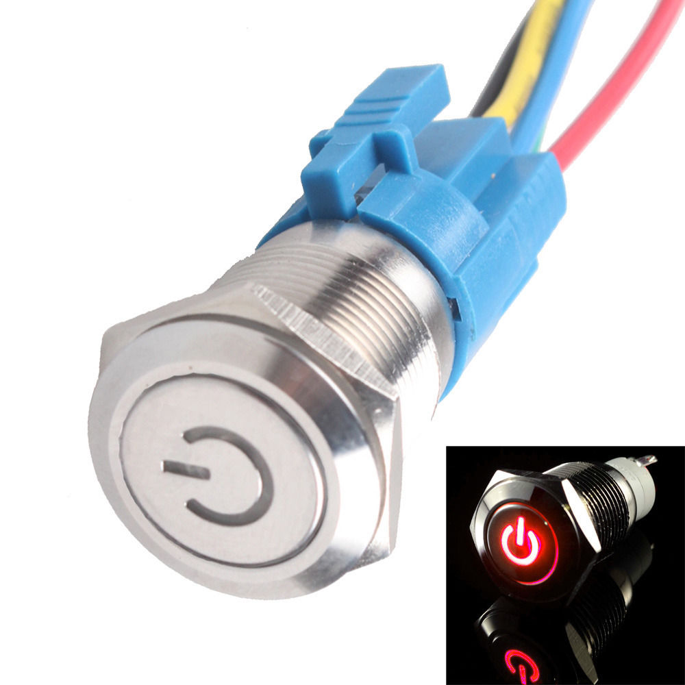 EE support  100% Quality 16mm 12V 3A LED Power Metal Push Button Switch With Socket Plug Universal Car Accessories  XY01