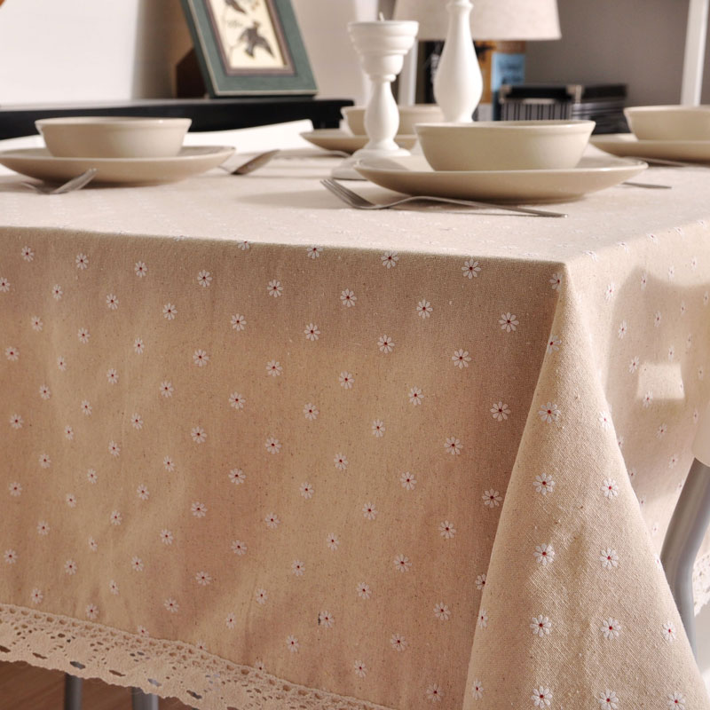 Small daisy linen table cloth pastoral small fresh table cloth home hotel restaurant table cloth