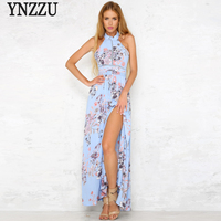 Bãi Biển mùa hè Dài Dresses Đối Với Phụ Nữ 2017 Boho Xanh Floral Print Halter Hollow Sexy Backless Chia Maxi Dress vestidos AD157