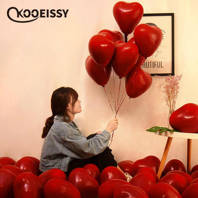 10 Polegada Metálico Coração Vermelho Do Rubi Ágata Vermelha Balão Quarto Casamento Decorado Com Data Do Dia Dos Namorados Vermelho Romã Vermelho Balão de Festa