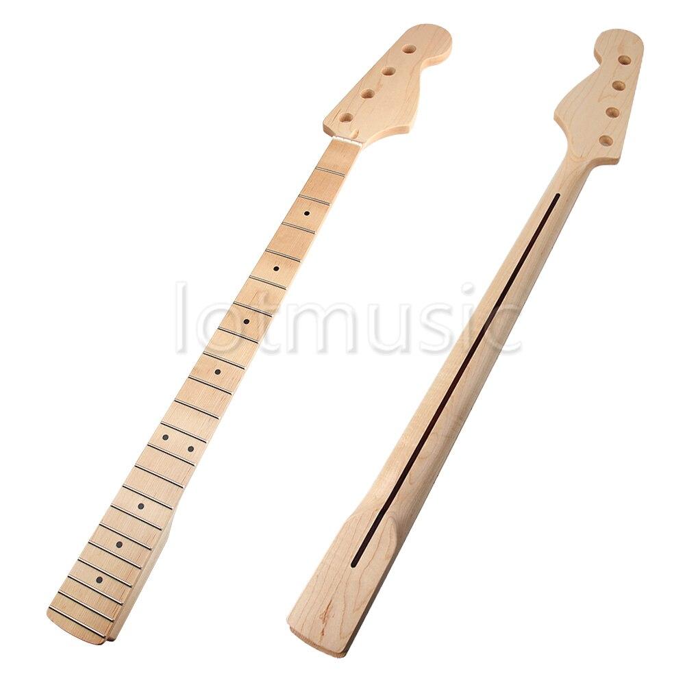 Guitare Cou 21 Frettes D'érable Touche pour Jazz Bass Guitare Cou Pièces De Rechange Noir Dot Inlay Clair Satin - 2