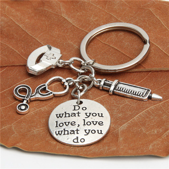 1pc  Nurse Keychain Physician Assistant Key Chains Medical Keyring Stethoscope Syringe Charms Do What You Love Jewelry E2045