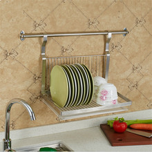 1 Tiers Multi-functional Stainless Steel Dish Rack Kitchen Storage Boxes Dish Drainer Cup Dish Rack Plates