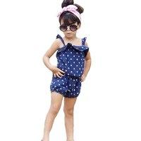 Summer Style Girls Kids Clothing Set Lovely Polka Dot Pattern Vest Shorts 2pcs Set Fashion Baby