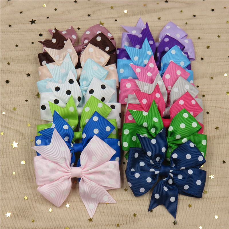 1PCS Dot Boutique Grosgrain Ribbon Girl Bow Elastic Hair Tie Rope Hair Band Bows DIY Hair Accessories Best Holiday Gift 2018