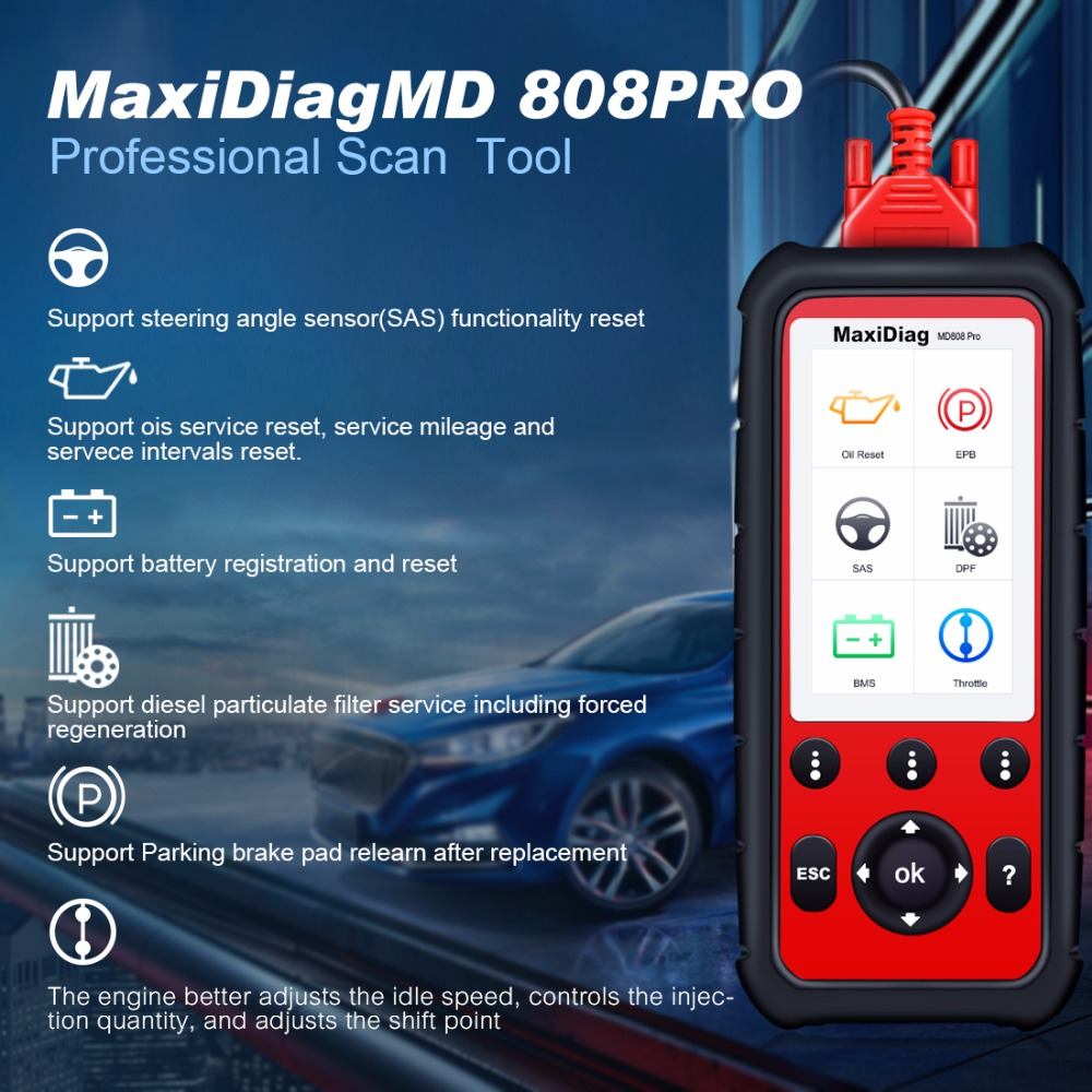 все цены на Autel MaxiDiag MD808Pro Diagnostic Scanner tool for Engine, Transmission, SRS , ABS systems with EPB, Oil Reset, DPF, SAS,BMS онлайн