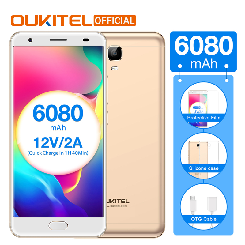 Oukitel K6000 плюс мобильный телефон MTK6750T 4G RAM 64g ROM 6080 мАч Батарея 5,5 FHD 16.0MP смартфон с сенсорным ID