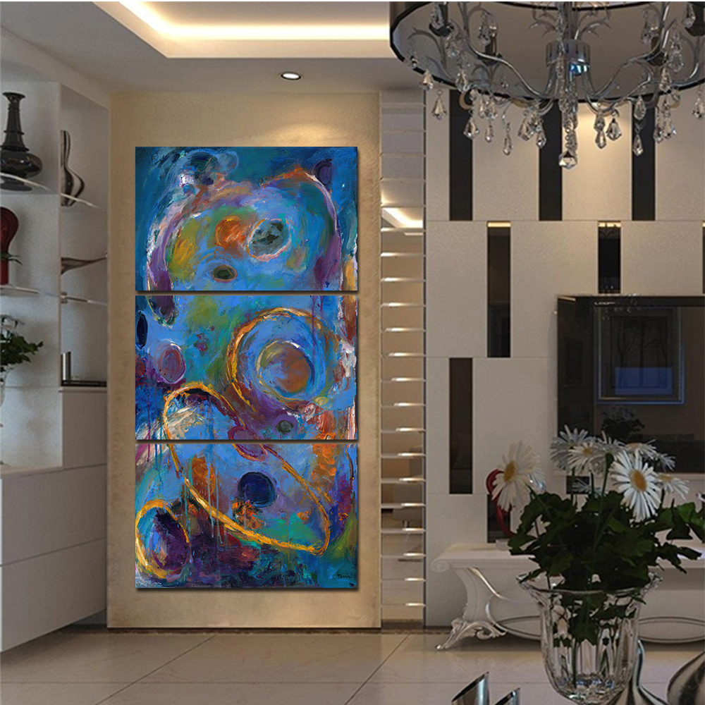 Unframed 3 HD Watercolor Canvas Painting Abstract Starry Sky Living Room Bedroom Decorative Painting Free Shipping