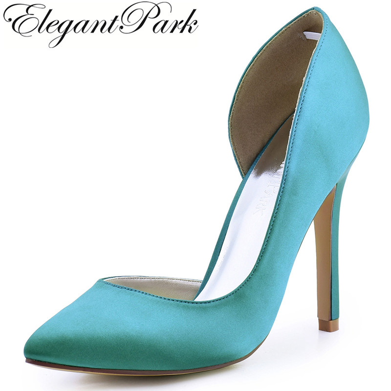 Women  Teal High Heel Wedding Shoes Pointy Toe D'orsay Satin Ladies Bridal Prom Dress Evening Pumps HC1601 Champagne round toe satin white wedding shoes rose bridal dress shoes party prom dress shoes for ladies